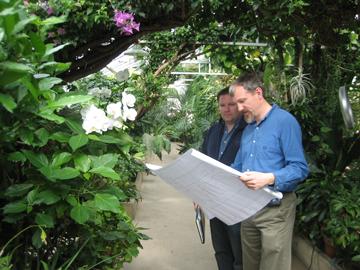 Greenhouse Engineer studying a plan in a conservatory